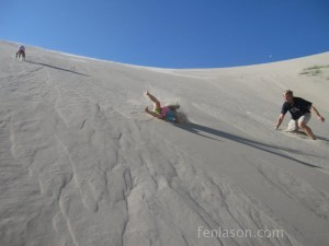 Alyssa barreling down the dunes
