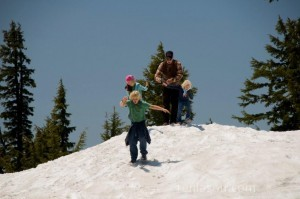 Playing in snow at Crater Lake