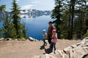 Poppi, Carlye, & Alyssa hiking Crater Lake NP