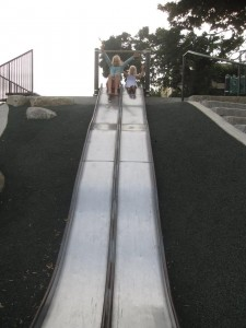 Girls on the slide at Kerry Park - Seattle