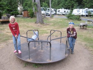 Kids in the RV park playround