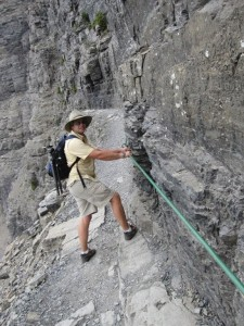 Narrow paths and steep dropoffs require a cable for stability