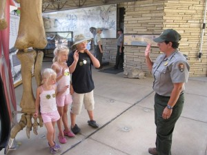 Earning their Junior Ranger Badges as well as their Junior Paleontologist Badge