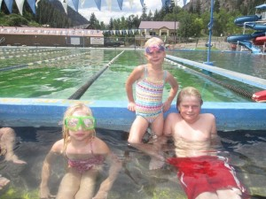 Kids enjoying the warm hot springs.