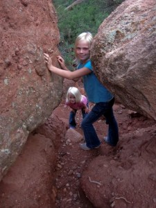 Carlye & Alyssa playing on the Garden of the Gods rocks