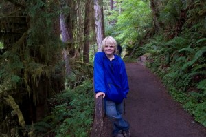 Jordan hiking the Mosses trail in Olympic Hoh Rainforest