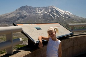 Alyssa learning about Mount St Helens