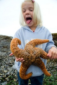 Alyssa holding a large starfish