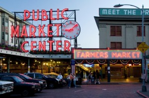 Public Market Center sign Pikes Place Market at sunset