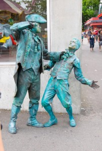 Street performers dressed like statues