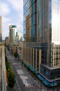View of downtown Seattle from our parking garage