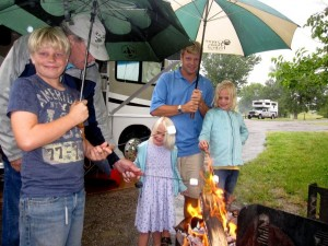 Enjoying a camp fire regardless of the weather - Cherry Creek State Campground in Aurora Colorado