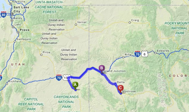 Maps-Moab to Montrose, CO